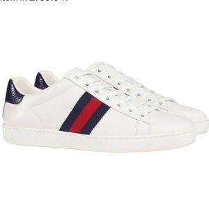 Gucci Wht Navy New Ace Watersnake Leather Sneakers